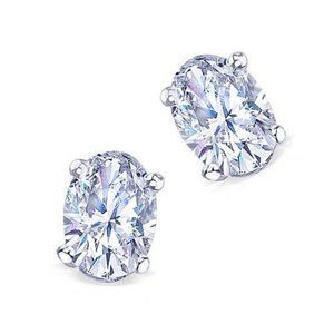Diamond Oval Cut 1 Carat Diamond Stud Earring
